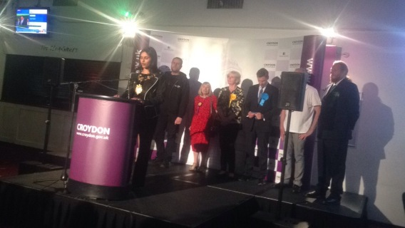 Announcing Croydon South results. Image: Roza Dawood