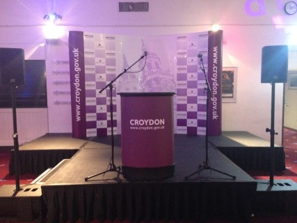 Stage set up for the official declarations of the results in the foyer of Fairfield Halls. Image: Georgina Palzeaird