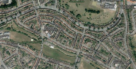 Keedonwood Road, Bromley. Reports of three houses alight- all occupants evacuated. Image: Google Satellite