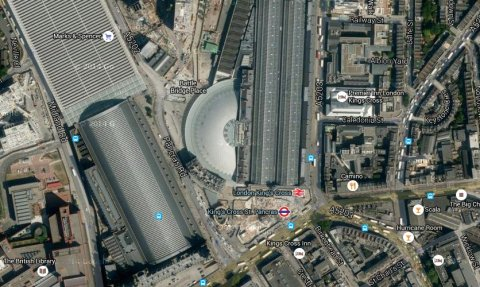 King's Cross Station. Image: Google satellite.