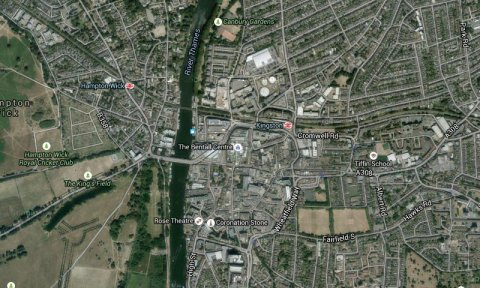 Kingston Upon Thames- Met Police investigating rape of 13 year old girl. Image: Google Satellite.