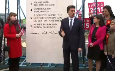 Ed Miliband's 'pledge of stone' in Hastings. Image: screengrab from ITV news. Click through for report.