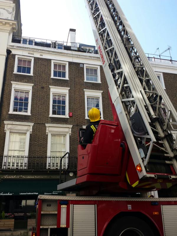 Firefighters at Bayswater restaurant fire. Image: @LondonFire
