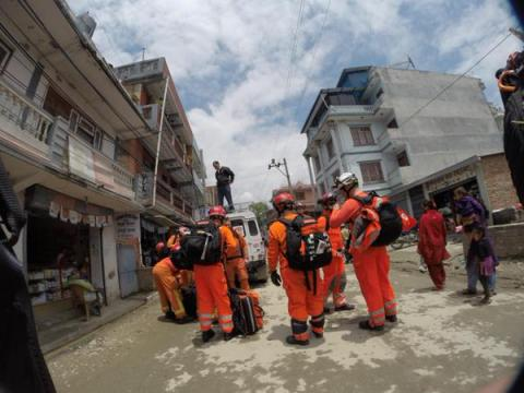 Specialist London Firefighters in Nepal helping international rescue operation. Image: @LondonFire