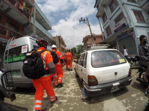 London Fire Brigade search and rescue specialists in UK team operating in Nepal. Image: @LondonFire