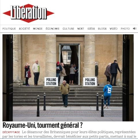 Liberation- a French left wing newspaper is covering the British General Election as their lead story. Image: http://www.liberation.fr/