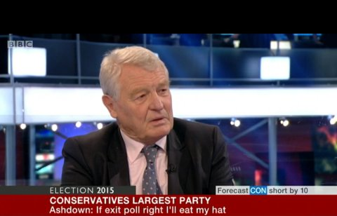Lord Ashdown incredulous about Exit Poll predicting collapse of Liberal Democrat vote- leaving them with only 10 MPs. Image: BBC Election Special screen grab.