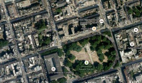 Marriott Hotel, Grosvenor Square, London. Image: Google satellite.