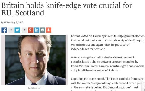 Nigerian Guardian- coverage of UK General Election. Screen grab http://www.ngrguardiannews.com/