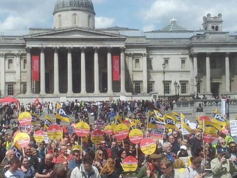PCS Union members and supporters holding rally against privatisation of services in the National Gallery. Image: @pcs_union