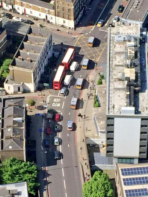 View from National Police Air Service helicopter as 8 men charged with plotting Hatton Garden jewellery raid go to court. Image: @NPAS London
