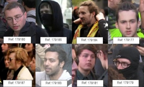 Images of people the Met Police would like to speak to in relation to events outside Downing Street Saturday 9th May 2015. Image: Met Police