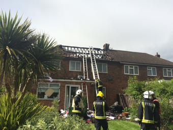 Damage house in Pinner- fire said to have been started by lightning. Image@LondonFire