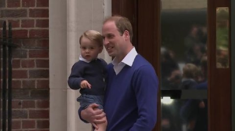 Prince William taking his son,  21 month old Prince George, to see his newly born sister. Image: Screen grab from live Sky News Feed.