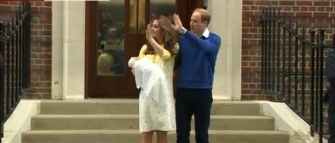 Proud Royal parents waving to waiting crowds and media with their newly born daughter- just over 10 hours old. Image: screen grab BBC Live news feed.