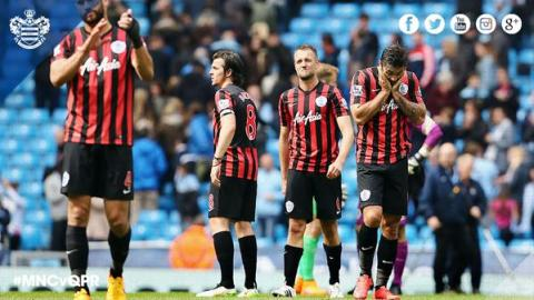 Dejected QPR players after being beaten 0-6 at Manchester City. Image:@QPRFC