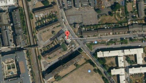 Radford House, St Leonards Road Poplar. Postal votes sent to building site. Image: Google Satellite.