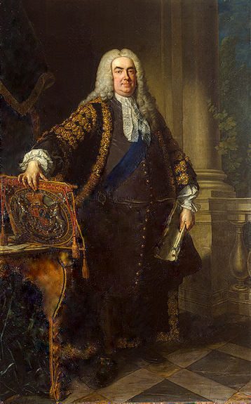 """Retuched Painting of Robert Walpole"" by Workshop of Jean-Baptiste van Loo - Original uploader was Lordoliver at en.wikipedia; transferred to Commons by User:Bobamnertiopsis using CommonsHelper.. Licensed under Public Domain via Wikimedia Commons"