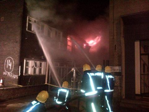 London Fire Brigade dealing with industrial unit fire in Leyton. Image: @LondonFire
