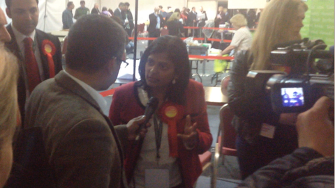 Rupa Huq is centre of attention by media and activists. Image by Robbie MacInnes