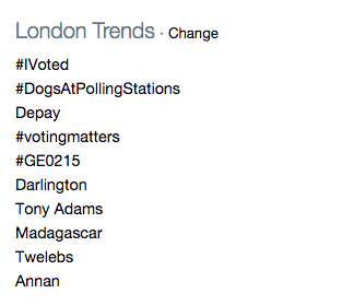 #DogsAtPollingStations trending in London.
