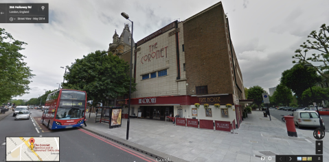 The Coronet on Holloway Road. Image: Google Street View. Click for link.