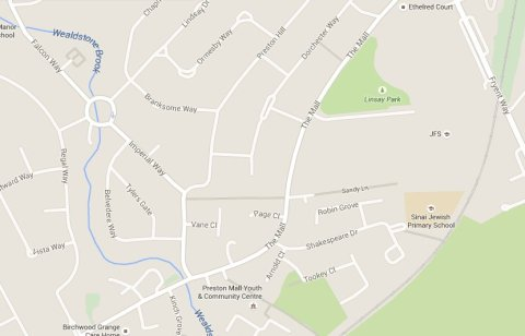 The Mall, Harrow. Scene of fatal road collision around 3 am Sunday morning 31st May 2015. Image: Google Map