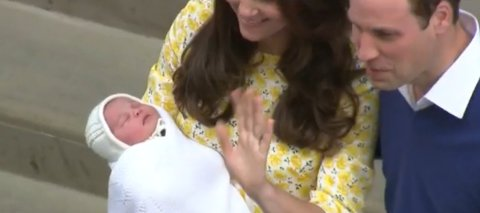 The new princess- cradled asleep in the arm of her mother the Duchess of Cambridge. Image: Screengrab BBC Live News.