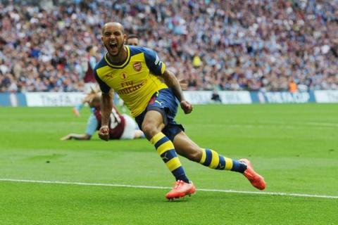 Theo Walcott celebrates putting Arsenal ahead in the first half at Wembley. Image@ArsenalFC