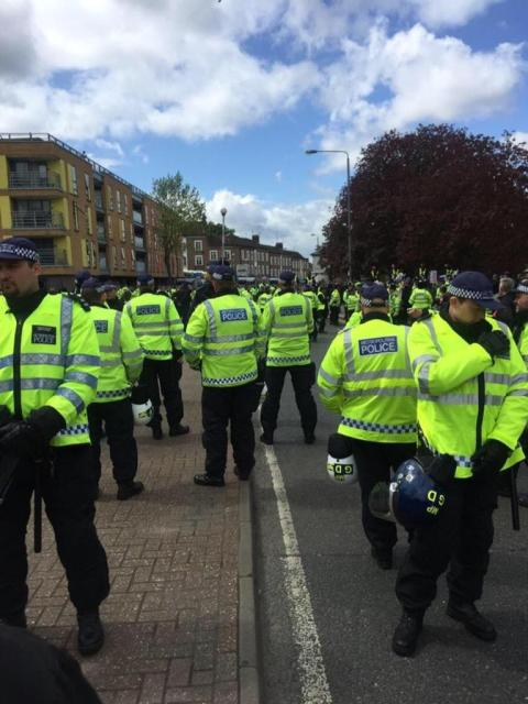Policing at Walthamstow rallies. Image: @MPSStamfordHill