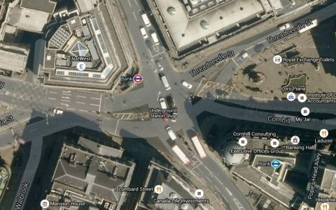 Bank- busy junction of several roads in the City of London. Image: Google Satellite.