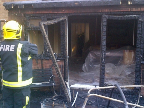 Damage caused by barbecue fire. Image: @LondonFire