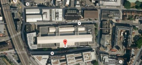 Blackfriars Crown Court, Pocock Street in Southwark. Image: Google Satellite.