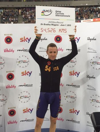 Sir Bradley at the Lee Valley Velopark having cycled 54.526km in one hour. Image:@OfficialWiggins