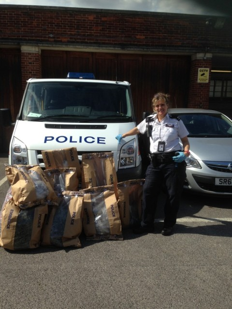 PC Vanessa Figg with the evidence bags. Image: Met Police
