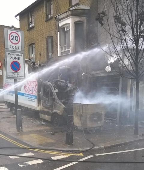 London Fire Brigade believe discarded cigarette probable cause of Upper Holloway shop fire. Image:@LondonFire