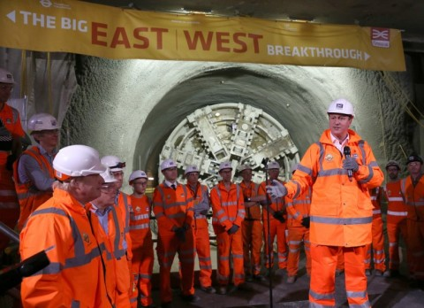 Prime MInister David Cameron celebrates completion of 26 miles of tunnelling under London. Image: Crossrail