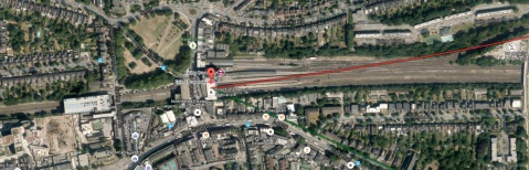 Ealing Broadway Station. Image: Google Satellite.
