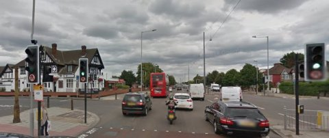 Junction of the A4 Great West Road with Wood Lane in Osterley. Image: Google Street View.
