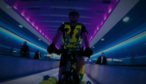 One of five London Ambulance Service cyclist responders at Heathrow Airport. Image: LAS