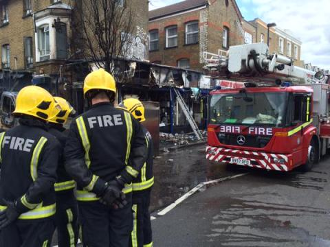 Aftermath of blaze. Damping down. Image:@LondonFire