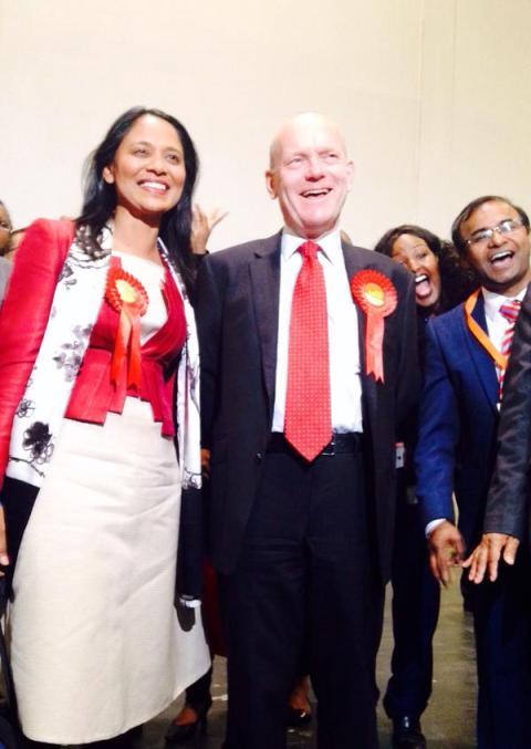 John Biggs (centre) new directly elected Mayor for Tower Hamlets.  Rushanara Ali, Labour MP celebrating with him (left) Image:@rushanaraali