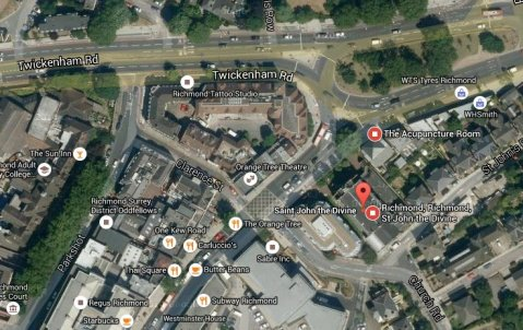 Business blocks in and around Kew Road, Richmond. Image: Google Satellite.