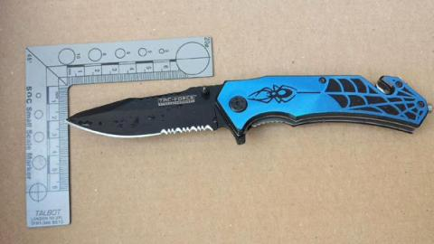 Knife recovered in connection with stabbing inquiry 24th June 2015 in Lewisham. Image: Met Police.
