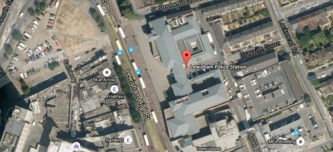 Lewisham Police Station in the High Street. Image: Google Satellite.