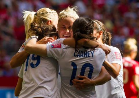 England Lionesses celebrate at full-time getting through to the World Cup semi-final for the first time. Image: @England