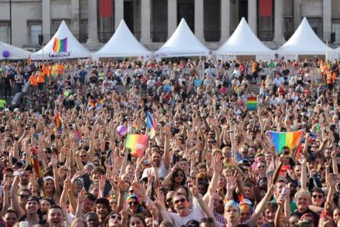 Thousands celebrate the 2015 LGBT Parade in Trafalgar Square. Image:@LondonLGBTParade