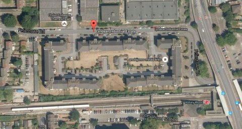 Lyndean Industrial Estate, Abbey Wood. Image: Google Satellite.