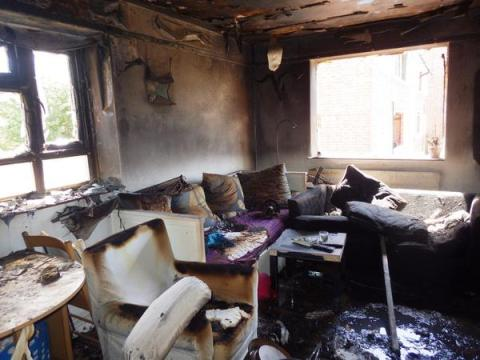 Damage to flat in Muswell Hill. Occupants got out in time because they were alerted by a smoke alarm. Image:@LondonFire