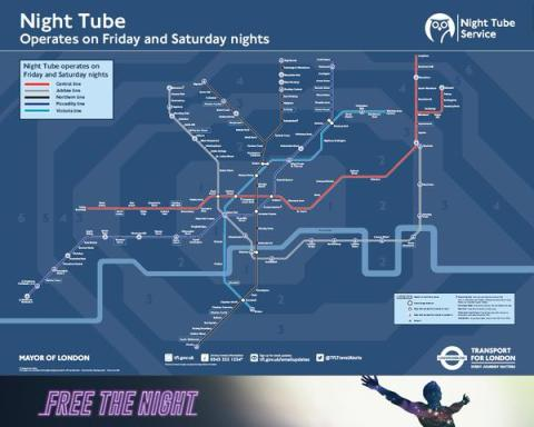 London Underground's new Night Tube map. Image: London Underground.